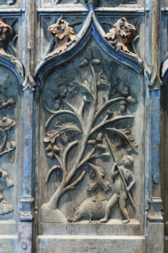 Détail d'un panneau en chêne de la fin du XVe siècle